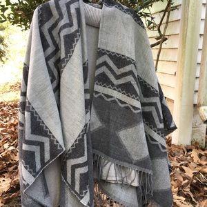 World market gray cardigan poncho
